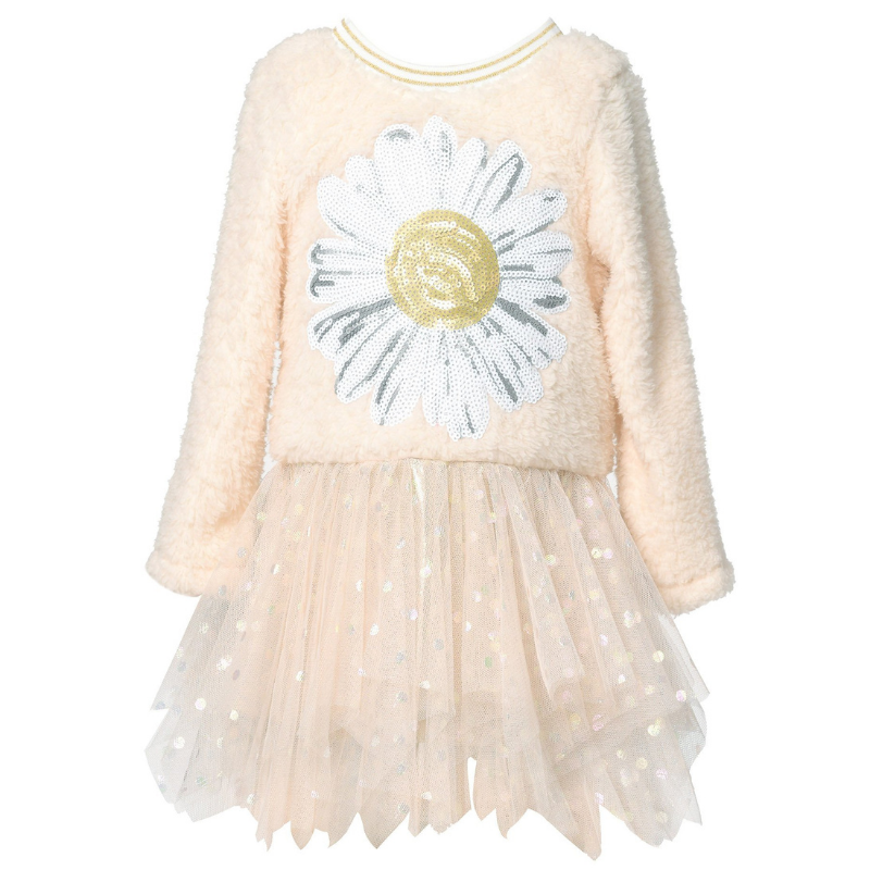 Baby Sara L/S SHERPA DRESS WITH MESH SKIRT AND DAISY TRIM DETAIL