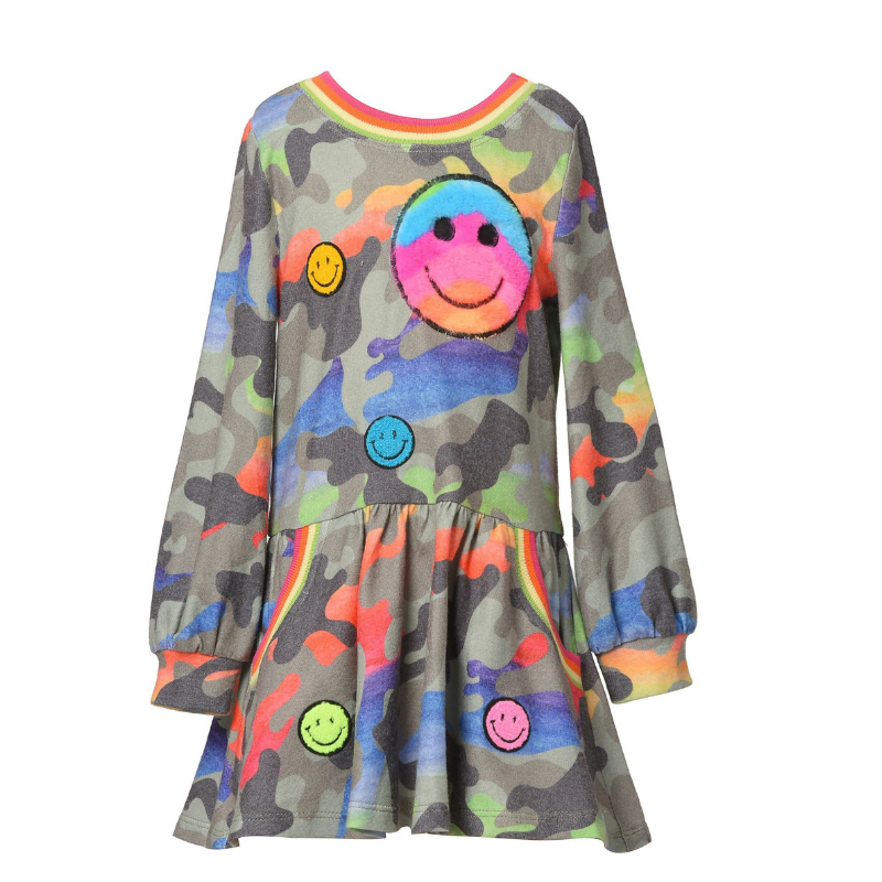 Baby Sara L/S RAINBOW CAMO PRINT DRESS W HAPPY FACE TRIMS