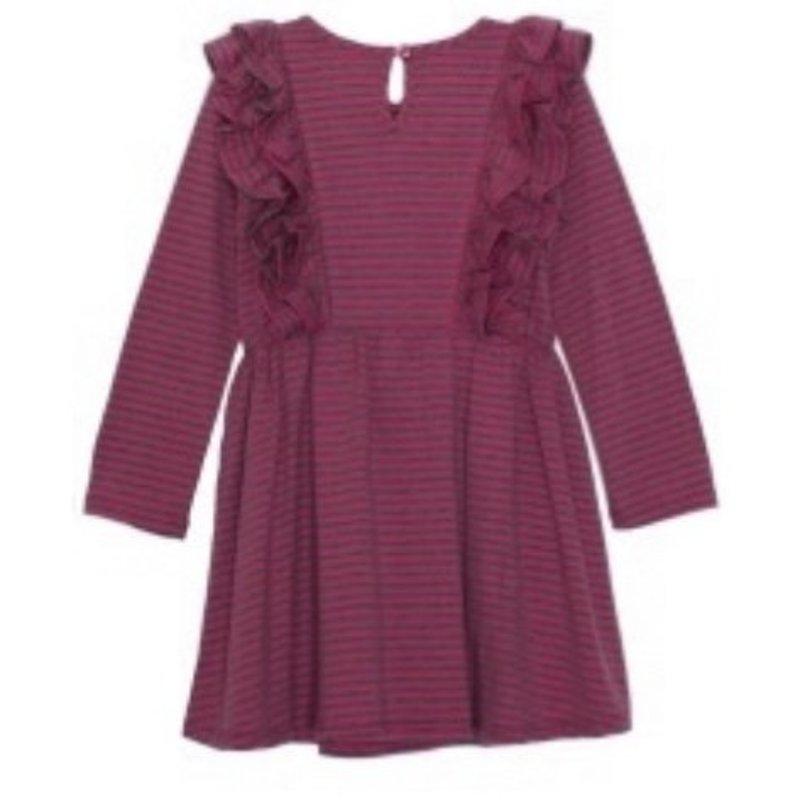 ISOBELLA & CHLOE L/S RUFFLE KNIT DRESS - RED