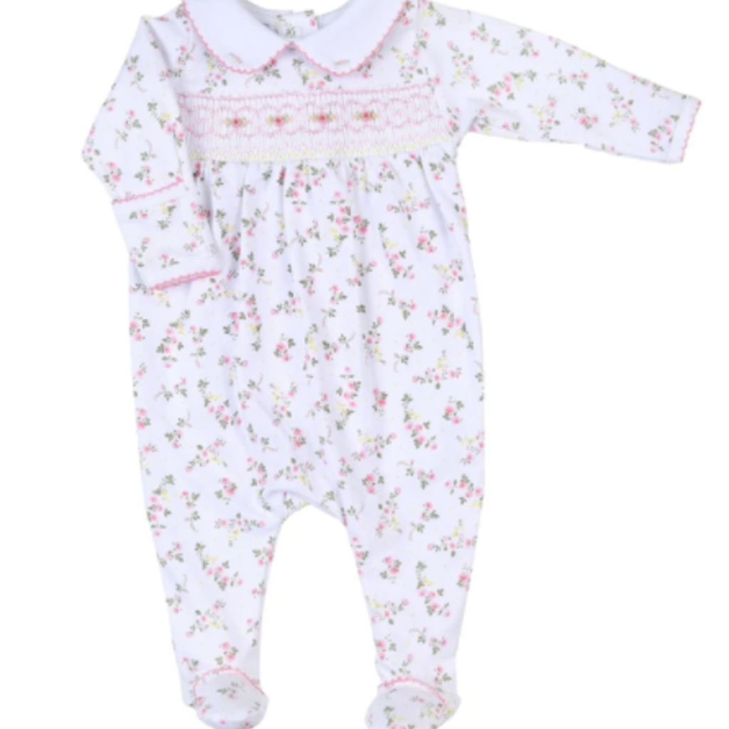 MAGNOLIA BABY GRACE'S CLASSICS SMOCKED PRINTED COLLARED GIRL FOOTIE - PK