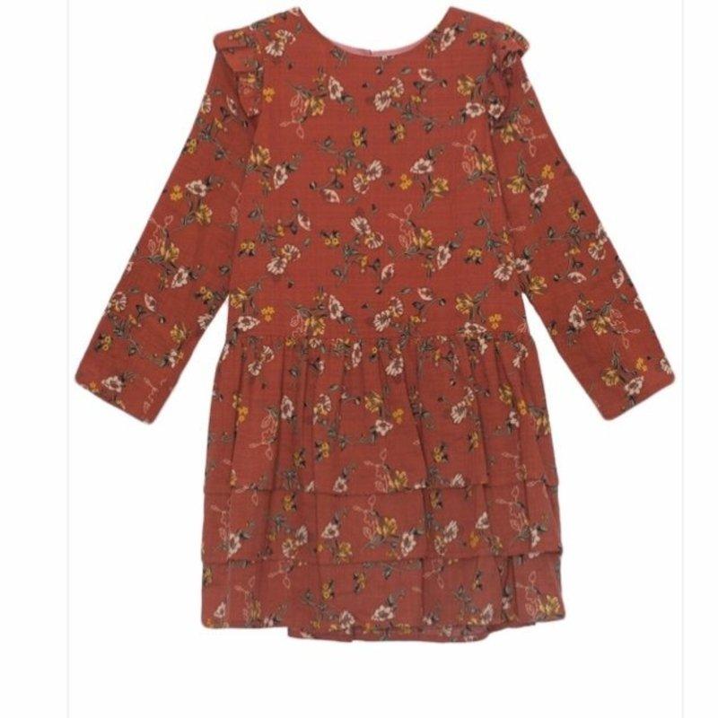 MABEL + HONEY LITTLE LADY FLORAL WOVEN DRESS - ORANGE
