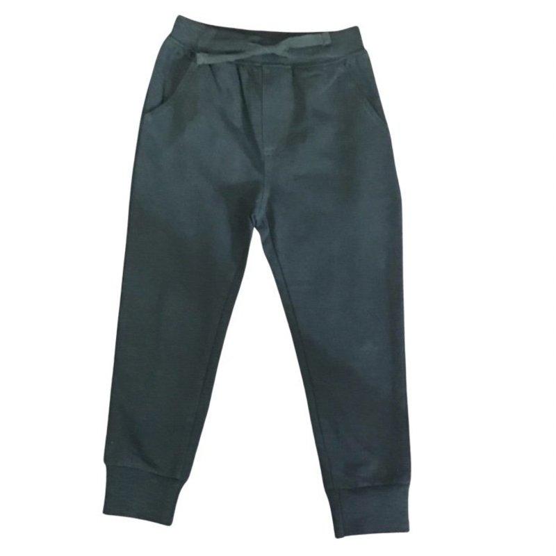 SLUB TERRY PULL ON PANT WITH RIB CUFF - BLACK