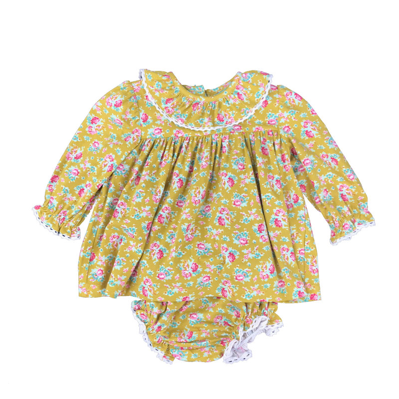 SAGE & LILLY MUSTARD FLORAL - LACE COLLAR BLOOMER SET