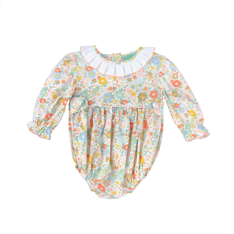 SAGE & LILLY PASTEL FLORAL - PLEATED COLLAR TAB BUBBLE