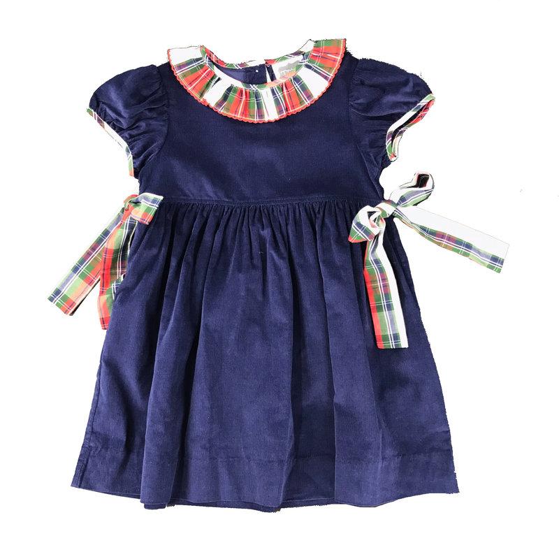 TRUE NAVY CORD BOW DRESS