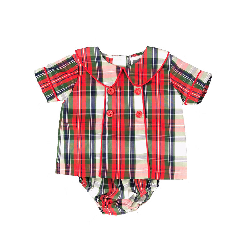 TRUE PIPED CHEST BOYS BLOOMER SET - CHRISTMAS