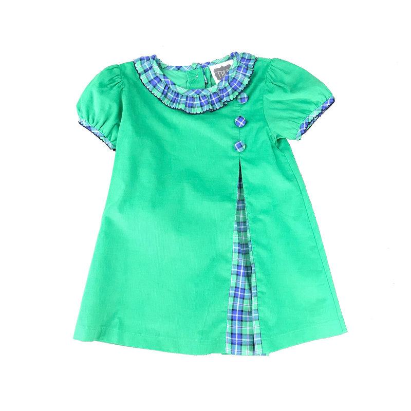 TRUE PLEAT BUTTON DRESS - NAVY/GREEN PLAID