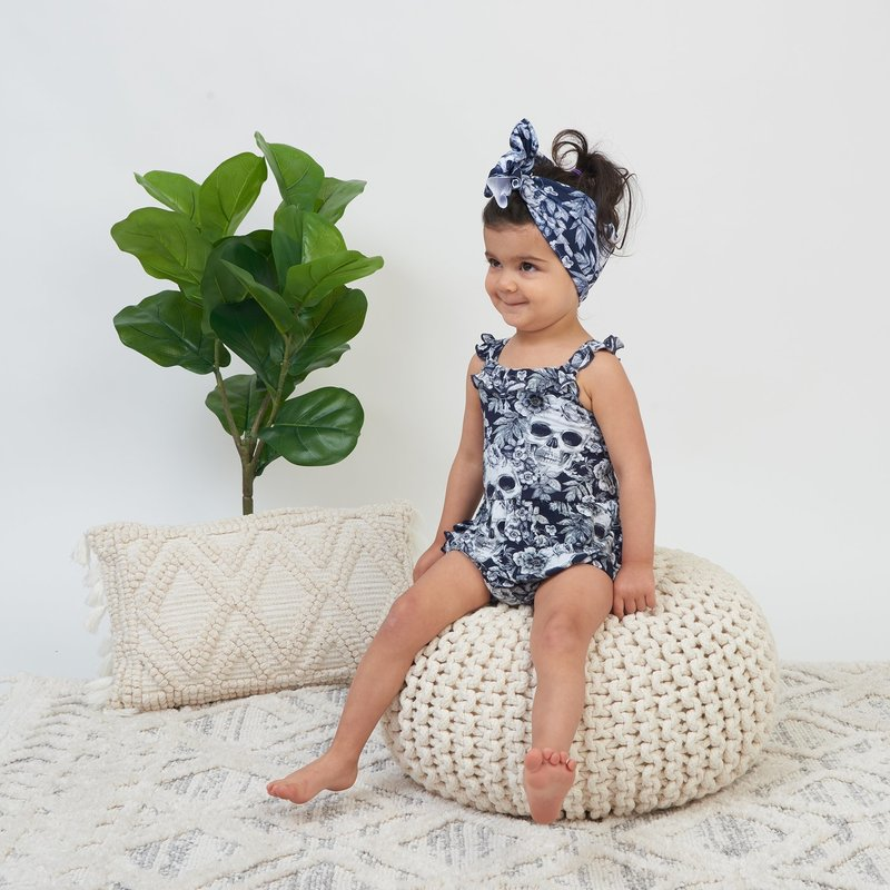 LITTLE BUM BUMS SKELETONS IN THE CLOSET BUBBLE ROMPER