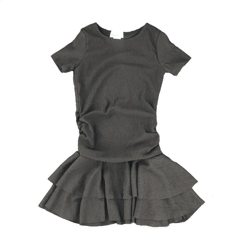 CHERYL KIDS S/S ROUCH SIDE DRESS - BLACK