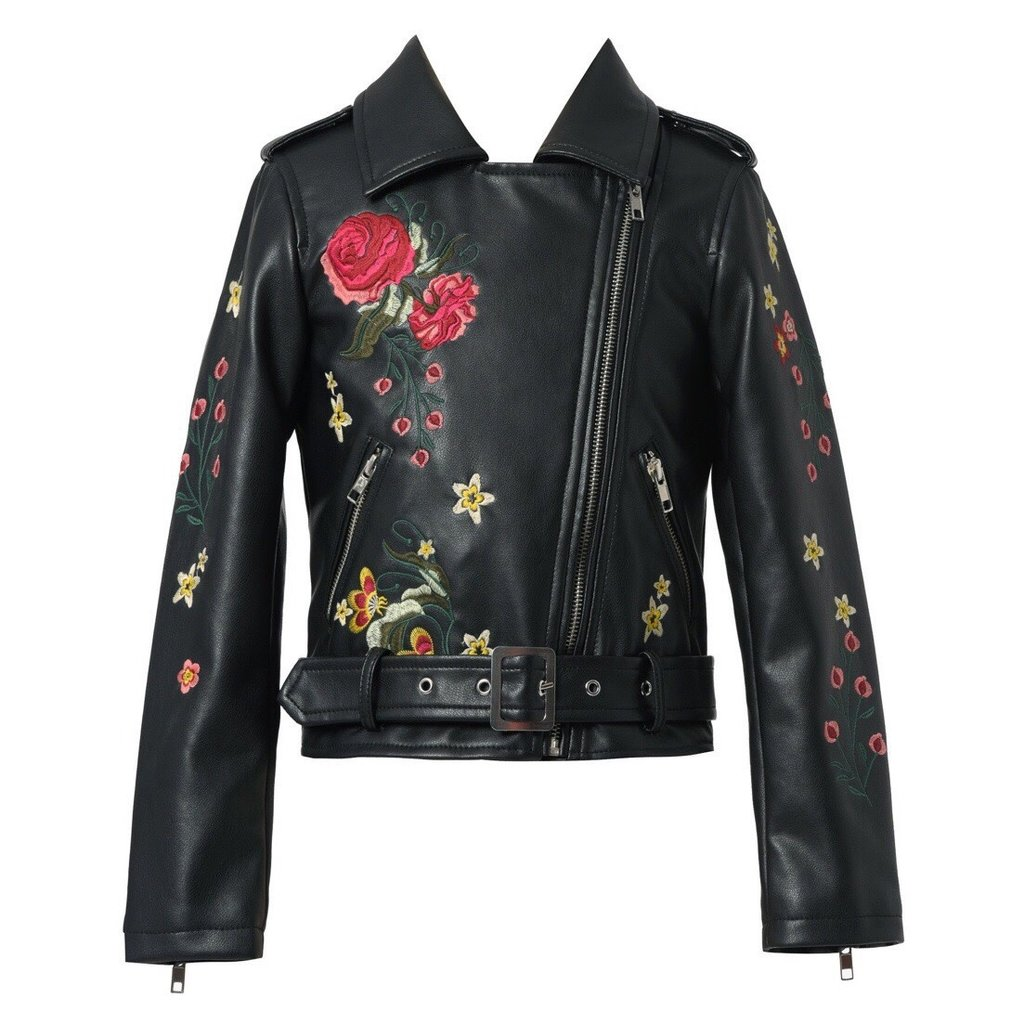 Hannah Banana FLOWER EMBROIDERED FAUX LEATHER BIKER JACKET