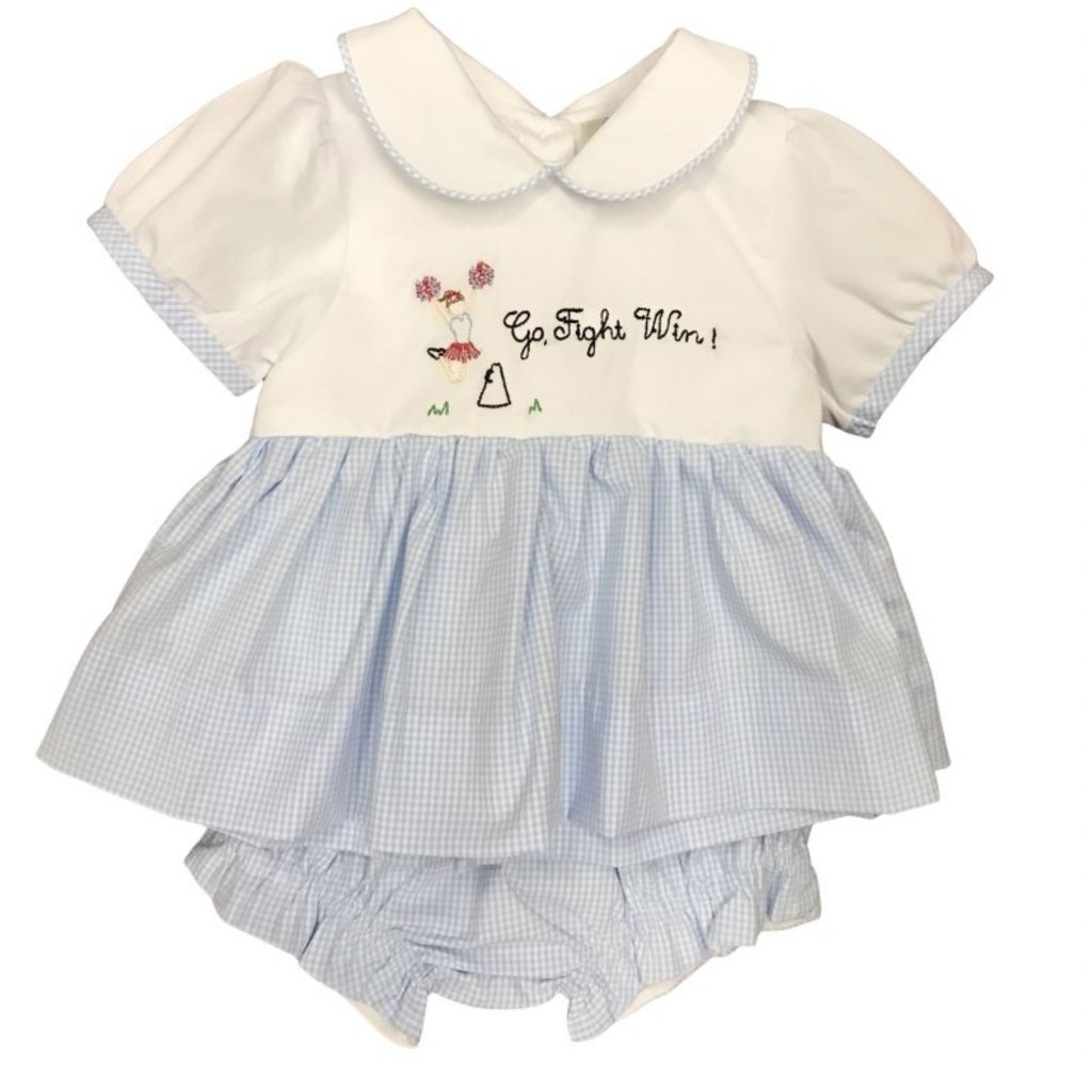 BABY BLUE AND RED TEAM GIRLS BLOOMER SET