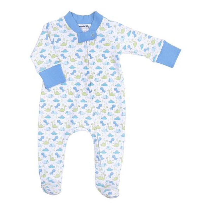 MAGNOLIA BABY LITTLE DINOSAURS PRINTED ZIPPED FOOTIE - LB