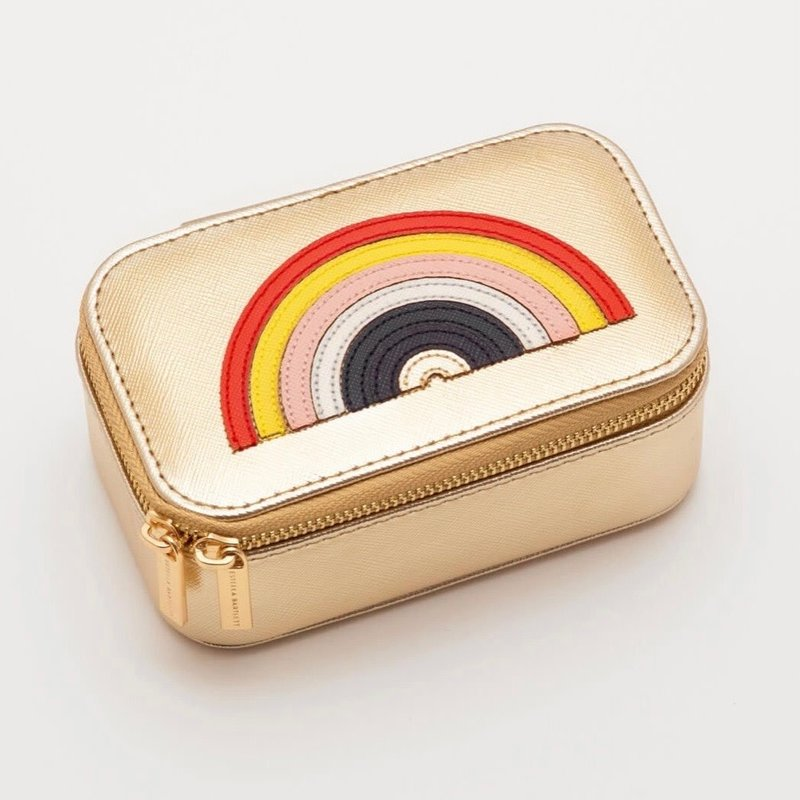 ESTELLA BARTLETT MINI JEWELRY BOX - GOLD W/RAINBOW APPLIQUE