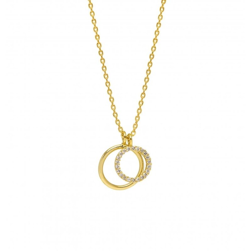 ESTELLA BARTLETT DOUBLE CIRCLE CHARM NECKLACE - GOLD PLATED