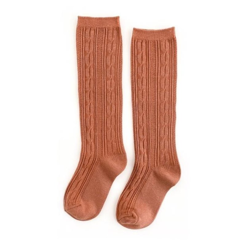 LITTLE STOCKING CO. MARMALADE CABLE KNIT KNEE HIGH SOCKS
