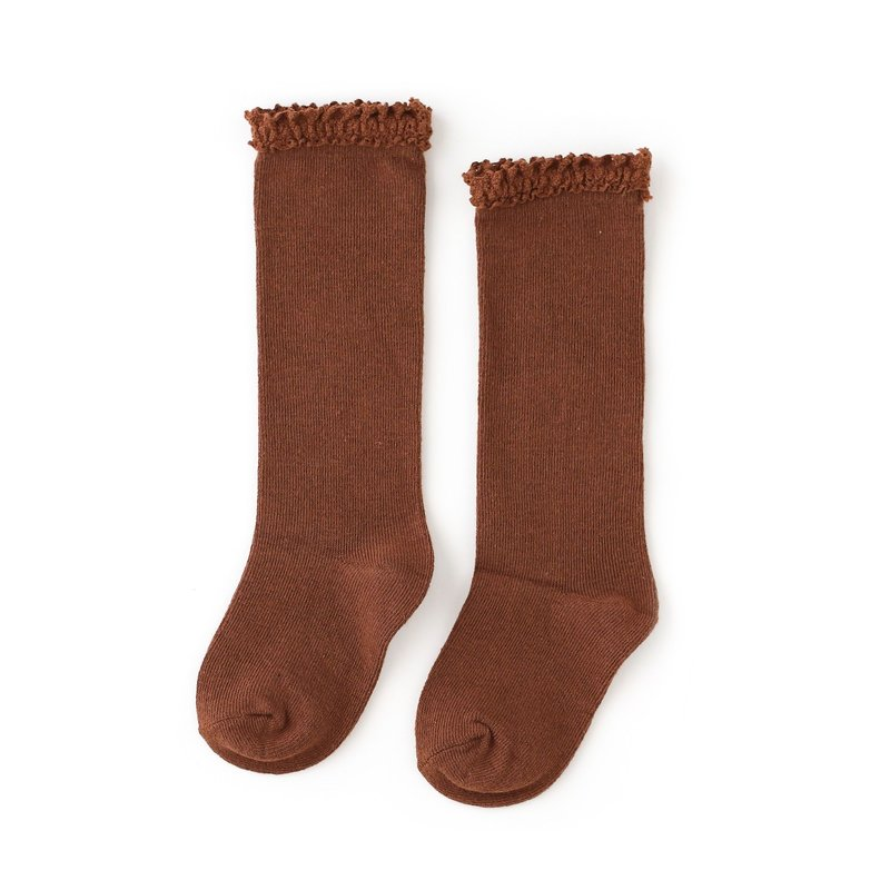 LITTLE STOCKING CO. BROWNIE LACE TOP KNEE HIGH SOCKS
