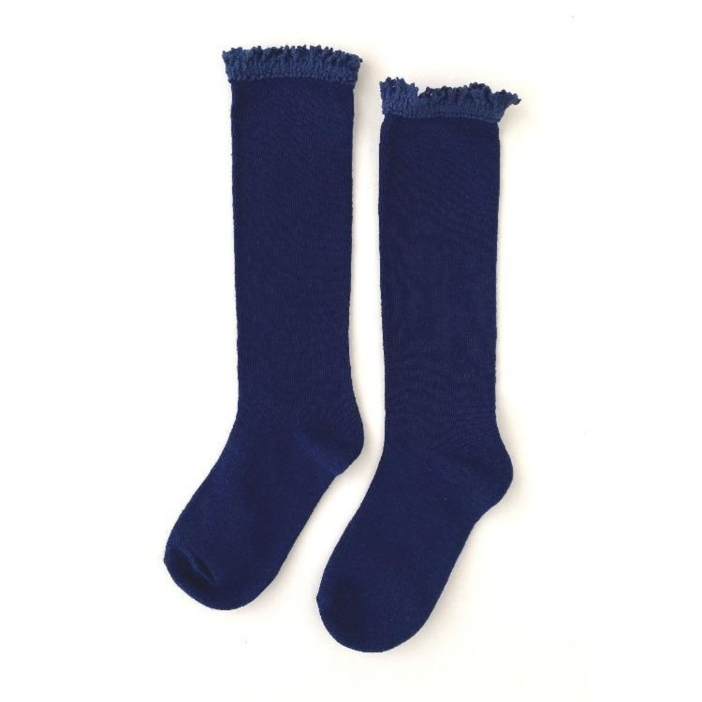 LITTLE STOCKING CO. BRIGHT NAVY BLUE LACE TOP KNEE HIGH SOCKS