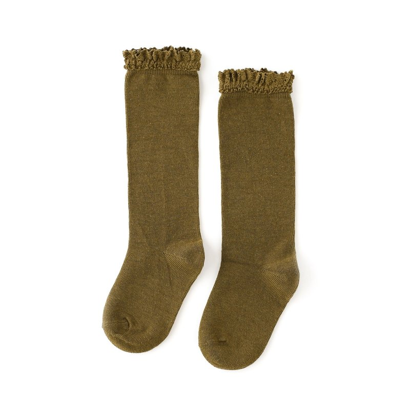 LITTLE STOCKING CO. OLIVE LACE TOP KNEE HIGH SOCKS