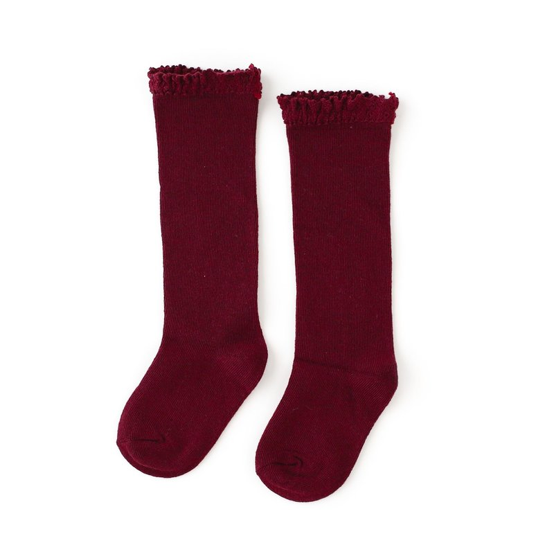 LITTLE STOCKING CO. WINE LACE TOP KNEE HIGH SOCKS