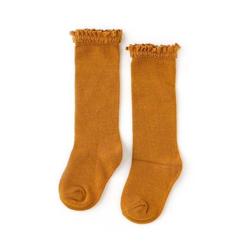 LITTLE STOCKING CO. MUSTARD LACE TOP KNEE HIGH SOCKS