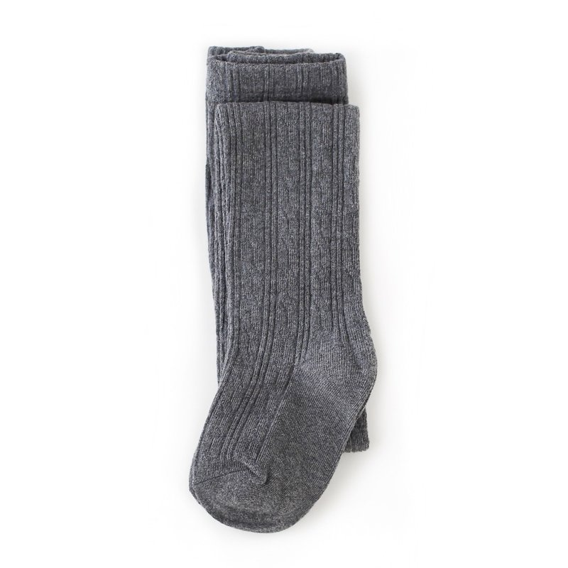 LITTLE STOCKING CO. CHARCOAL GRAY CABLE KNIT TIGHTS