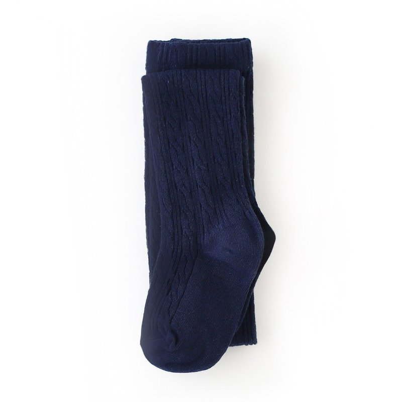 LITTLE STOCKING CO. NAVY CABLE KNIT TIGHTS