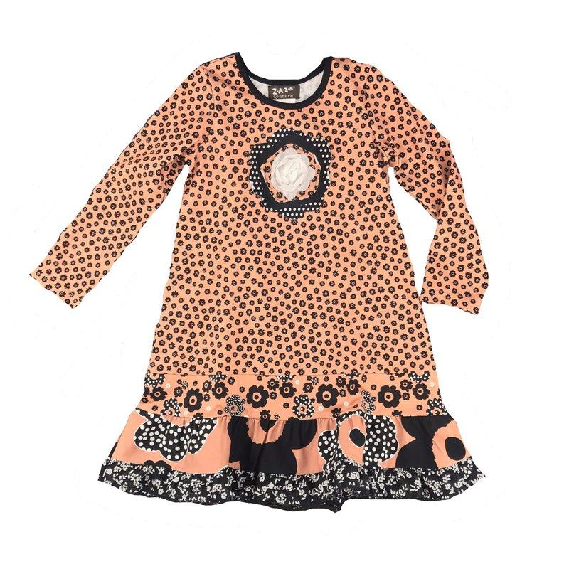 ZAZA COUTURE RUFFLE LUIZA DRESS - BROWN/BLACK