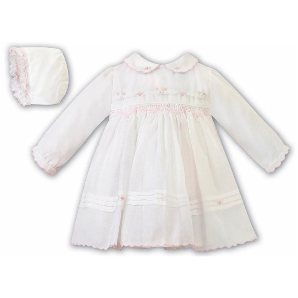 SARAH LOUISE 012445 IV/PK DRESS AND BONNET