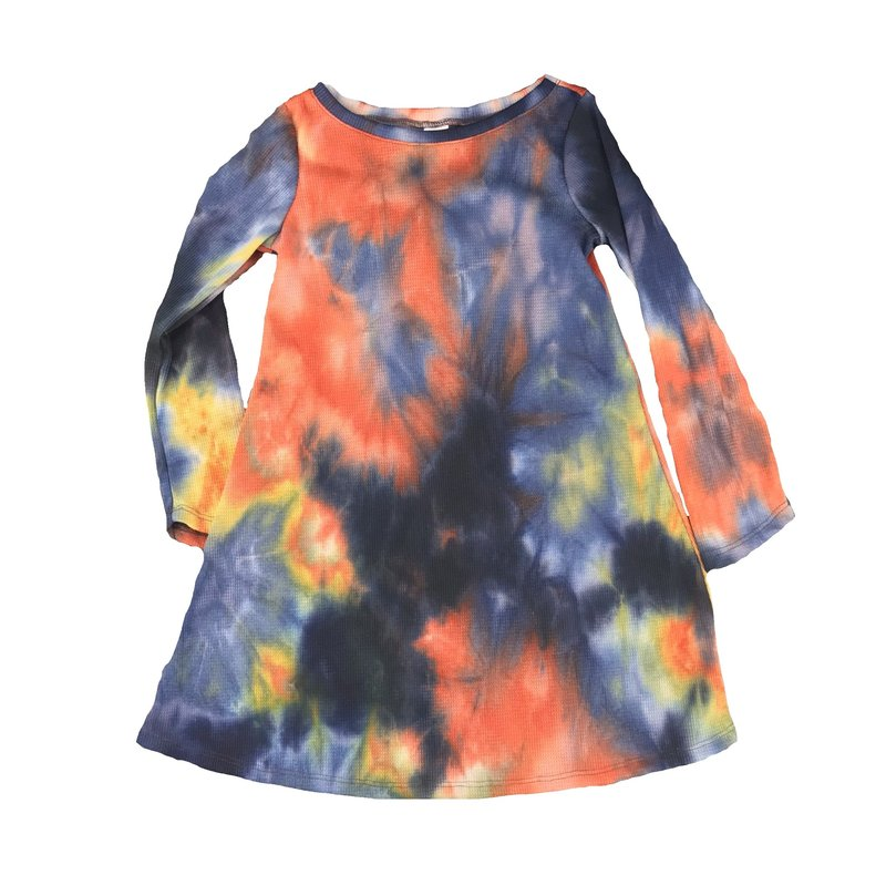 ERGE TIE DYED WAFFLE DRESS - CIRQUE