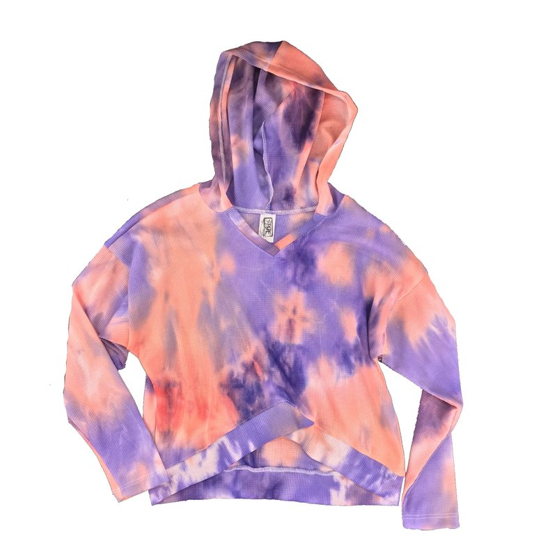 ERGE TIE DYED WAFFLE L/S HOODY - EARTHQUAKE
