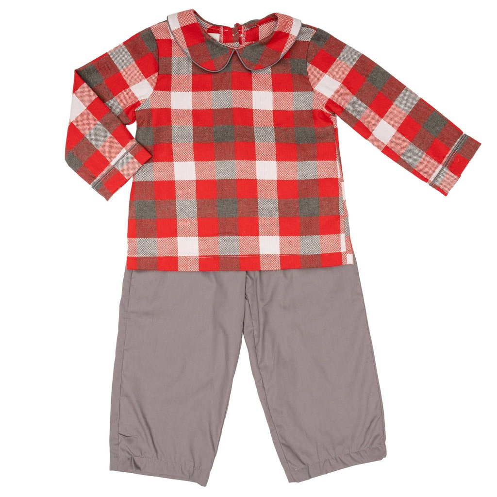 THE OAKS APPAREL COMPANY ANTHONY RED GREY PANT SET