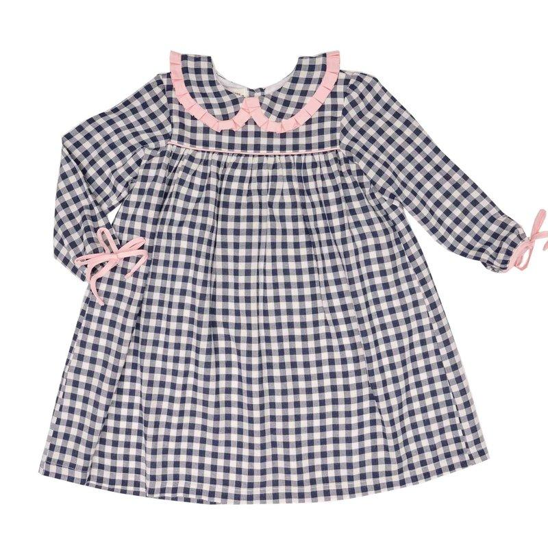 THE OAKS APPAREL COMPANY CECILIA NAVY CHECK PINK DRESS