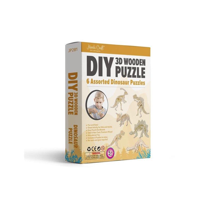 DIY 3D WOODEN PUZZLE 6CT - DINOSAUR