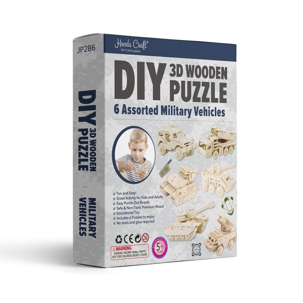 DIY 3D WOODEN PUZZLE 6CT - MILITARY VEHICLES