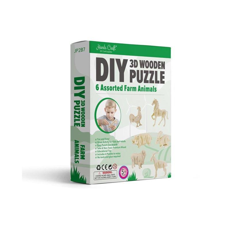 DIY 3D WOODEN PUZZLE 6CT - FARM ANIMALS