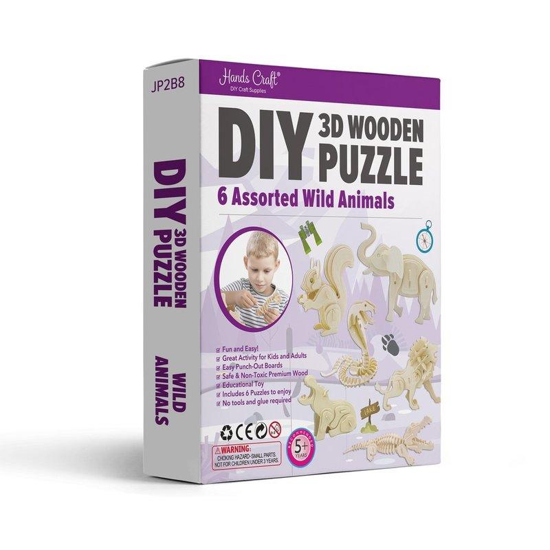 DIY 3D WOODEN PUZZLE 6CT - WILD ANIMALS