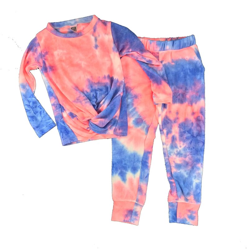 ERGE HACCI TIE DYED TWIST TOP AND JOGGER - PINK/ROYAL