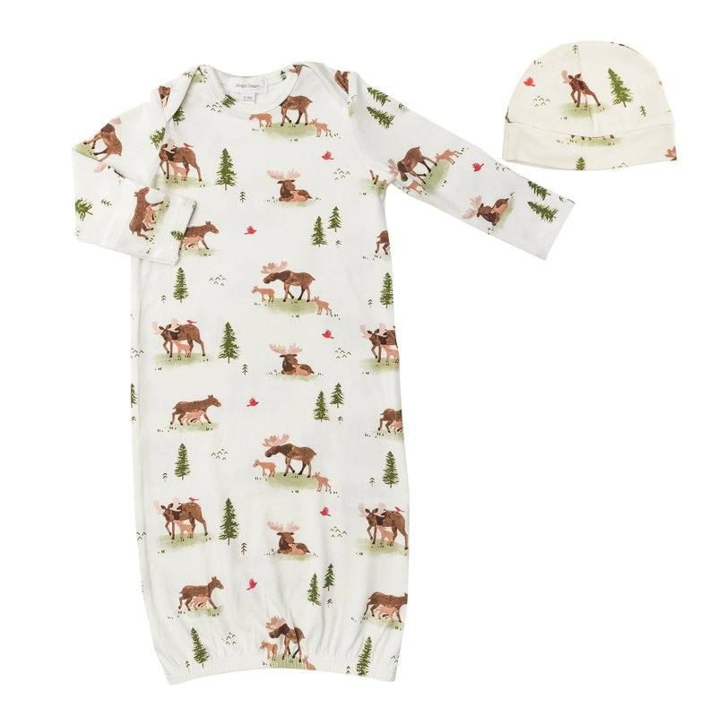 ANGEL DEAR MOOSE GOWN AND BEANIE - WHITE