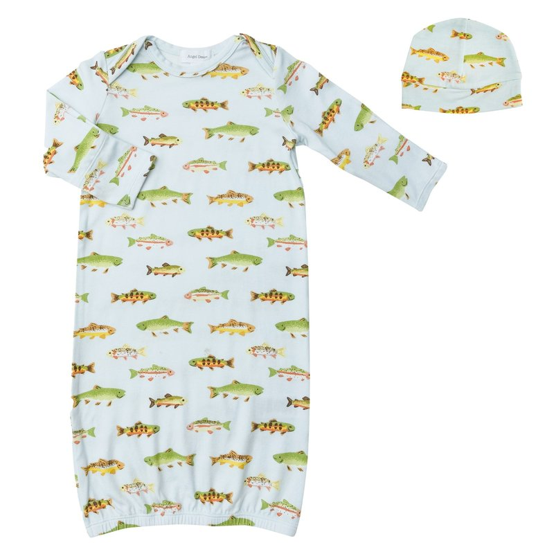 ANGEL DEAR FRESHWATER FISH GOWN AND BEANIE - BLUE