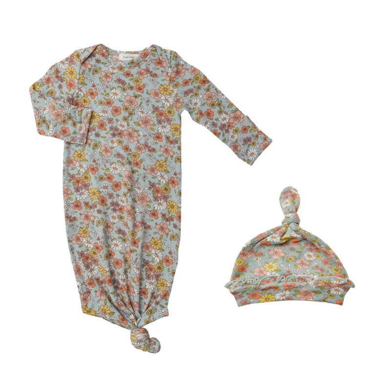 ANGEL DEAR FLOATING FLORAL KNOTTED GOWN AND HAT- BLUE