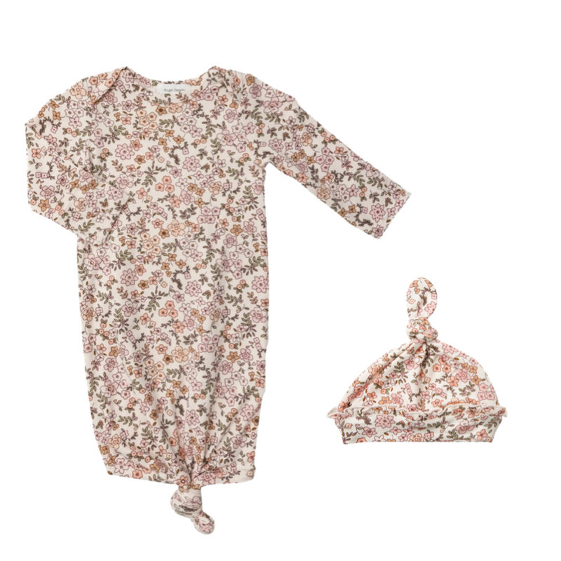 ANGEL DEAR VINTAGE CALICO KNOTTED GOWN AND BEANIE - PINK