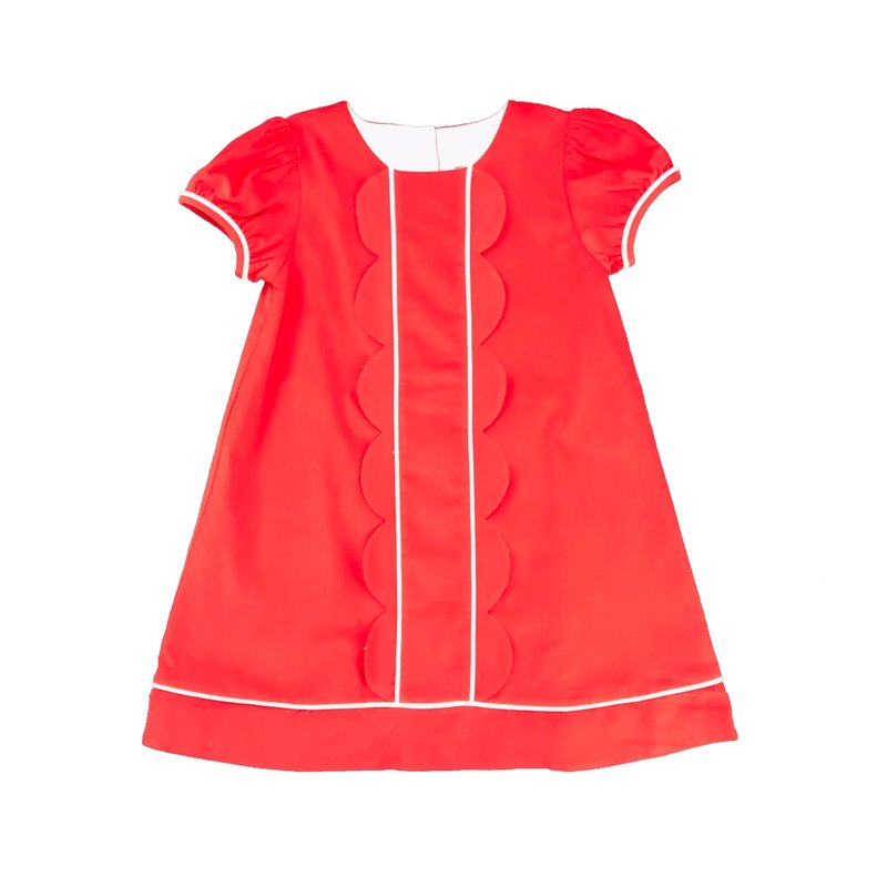 HONESTY SCALLOP CHEST DRESS - RED