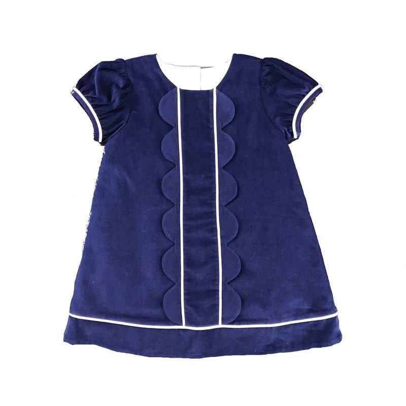 HONESTY SCALLOP CHEST DRESS - NAVY