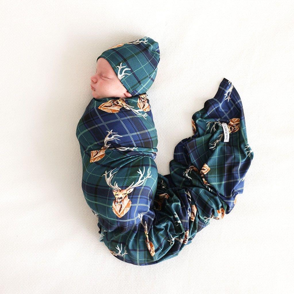 POSH PEANUT BECKFORD - INFANT SWADDLE AND BEANIE SET