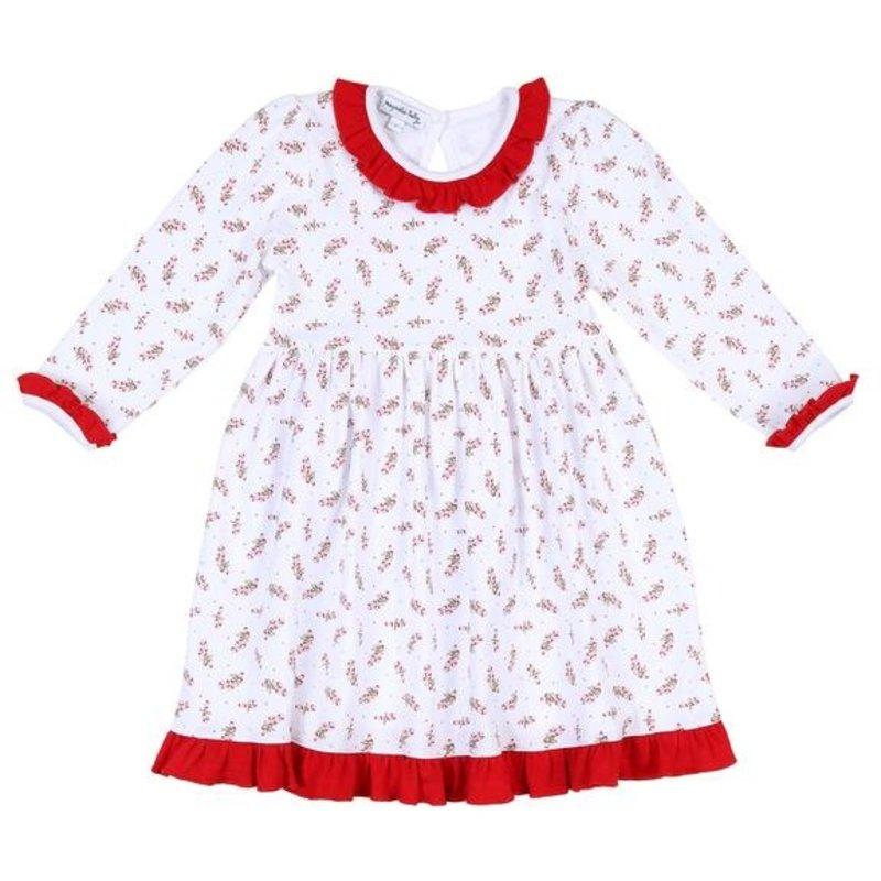 MAGNOLIA BABY VINTAGE CANDY CANE PRINTED L/S DRESS SET - RD