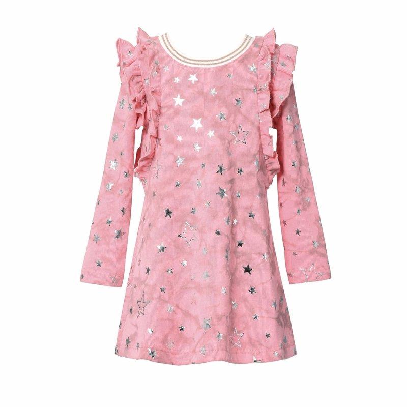 Baby Sara L/S A-LINE DRESS W/SHOULDER RUFFLE DETAIL