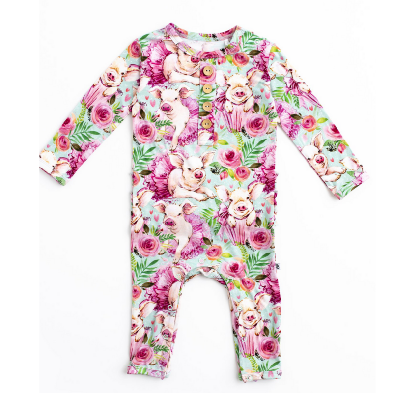 LITTLE BUM BUMS HOGS AND KISSES RUFFLE ROMPER