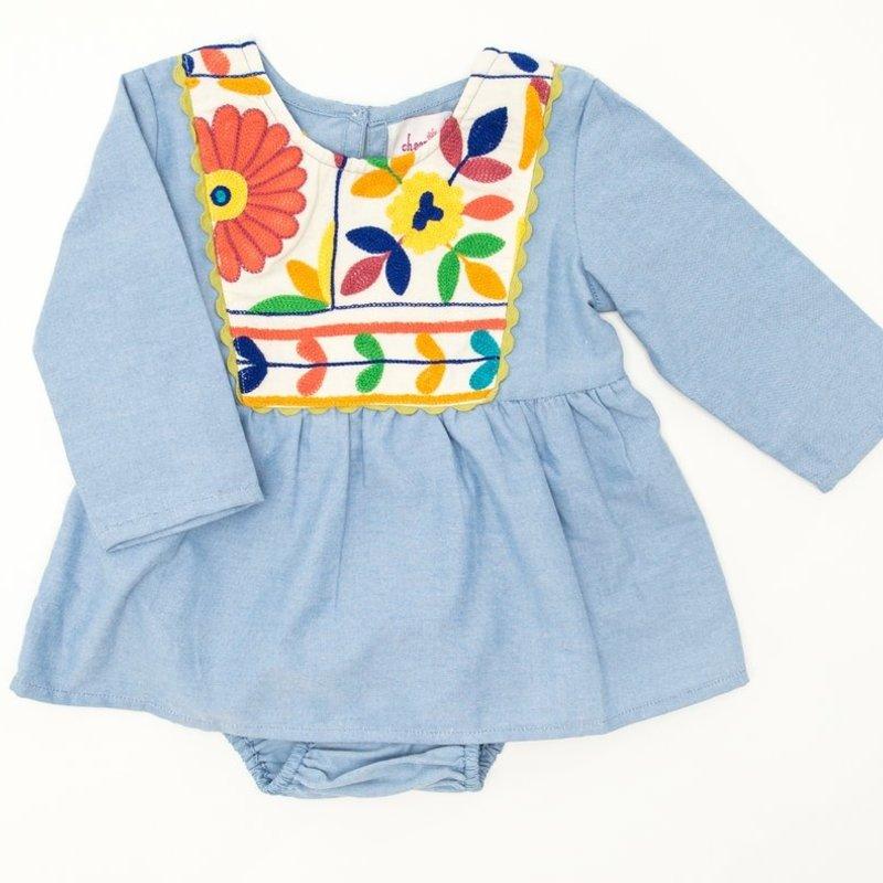 JOYA GREY STRIPED BABY DRESS