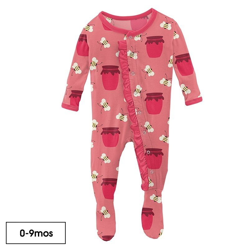 KICKEE PANTS RUFFLE FOOTIE WITH ZIPPER - STRAWBERRY BEES AND JAM
