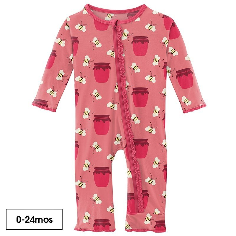 KICKEE PANTS MFFN RFFL COVERALL WITH ZIPPER - STRAWBERRY BEES AND JAM